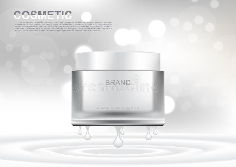 Vector la crema di sollevamento bianca degli annunci cosmetici sul backgroun bianco del bokeh royalty illustrazione gratis