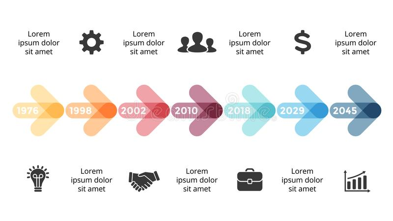 Vector la cronologia infographic, il grafico del diagramma, la presentazione dei cerchi delle frecce del grafico Concetto di prog royalty illustrazione gratis