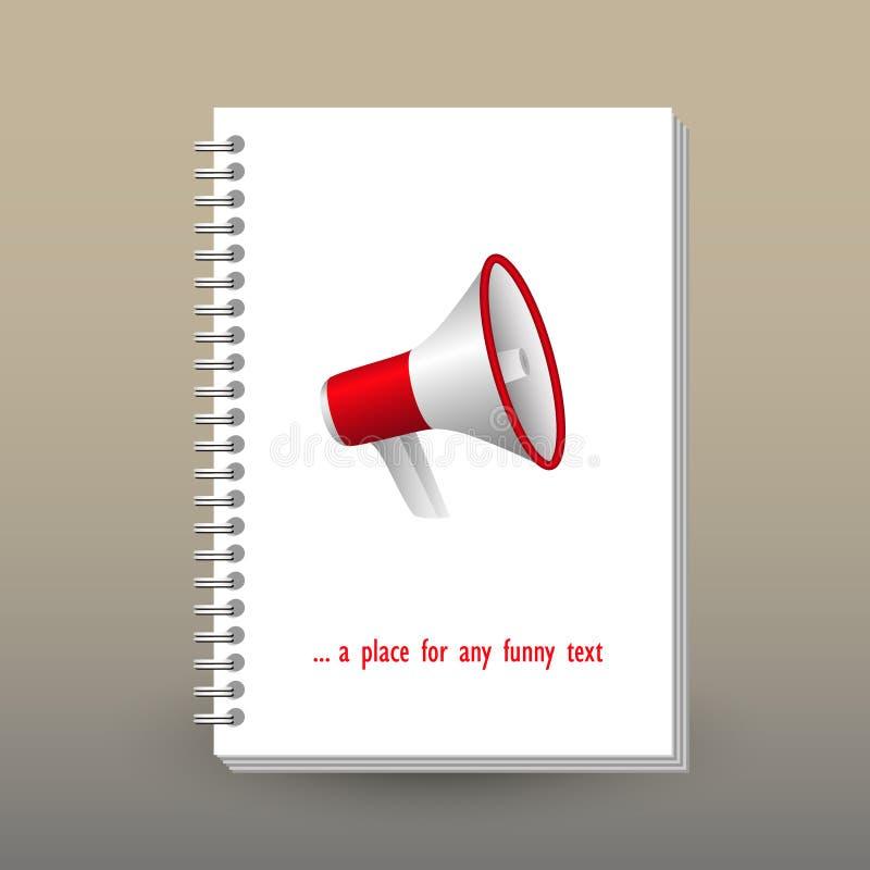 Vector la cubierta del diario con la carpeta del espiral del anillo - formato A5 - concepto del folleto de la disposición - rojo  stock de ilustración