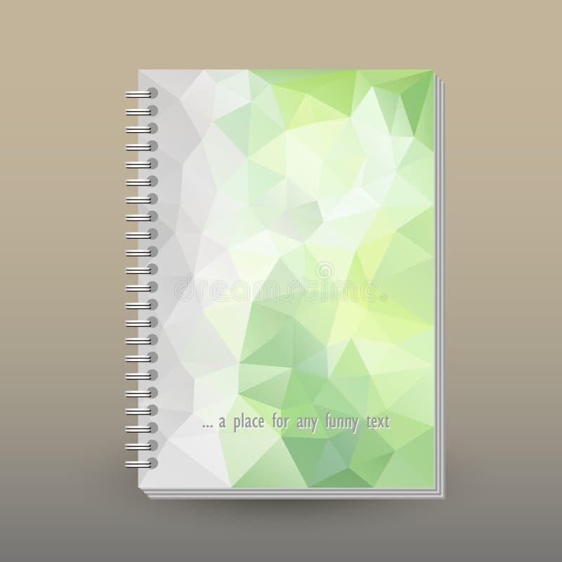 Vector la cubierta del diario con la carpeta del espiral del anillo - formato A5 - concepto del folleto de la disposición - verde stock de ilustración