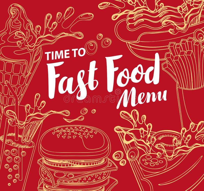 Vector la cubierta para el menú de los alimentos de preparación rápida en estilo retro ilustración del vector