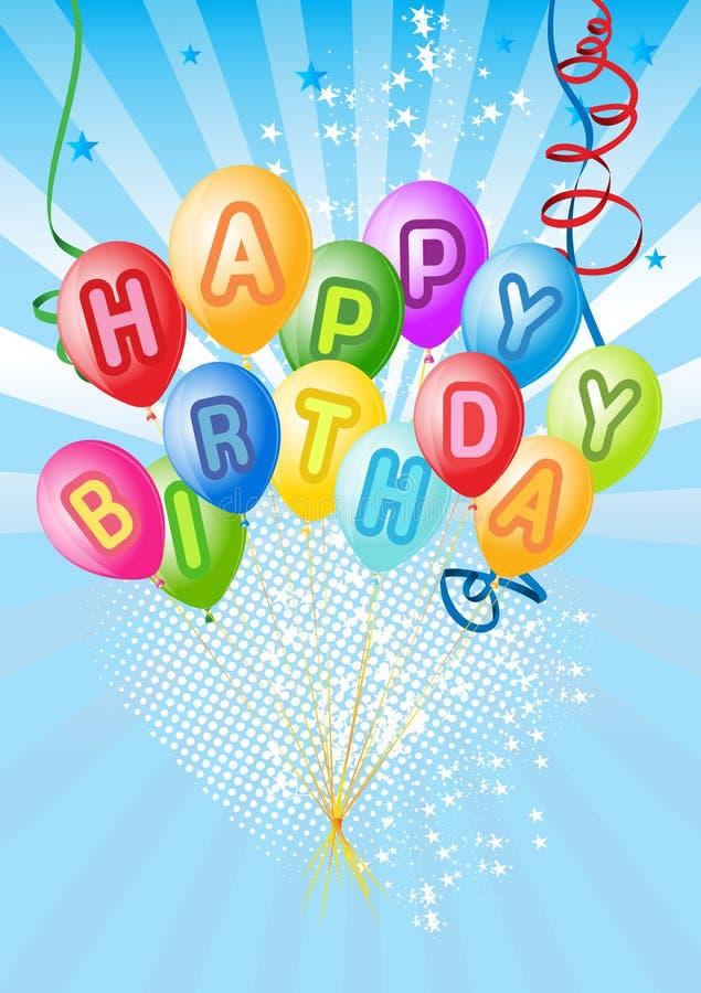 Vector la decoración de los globos lista para el cumpleaños stock de ilustración