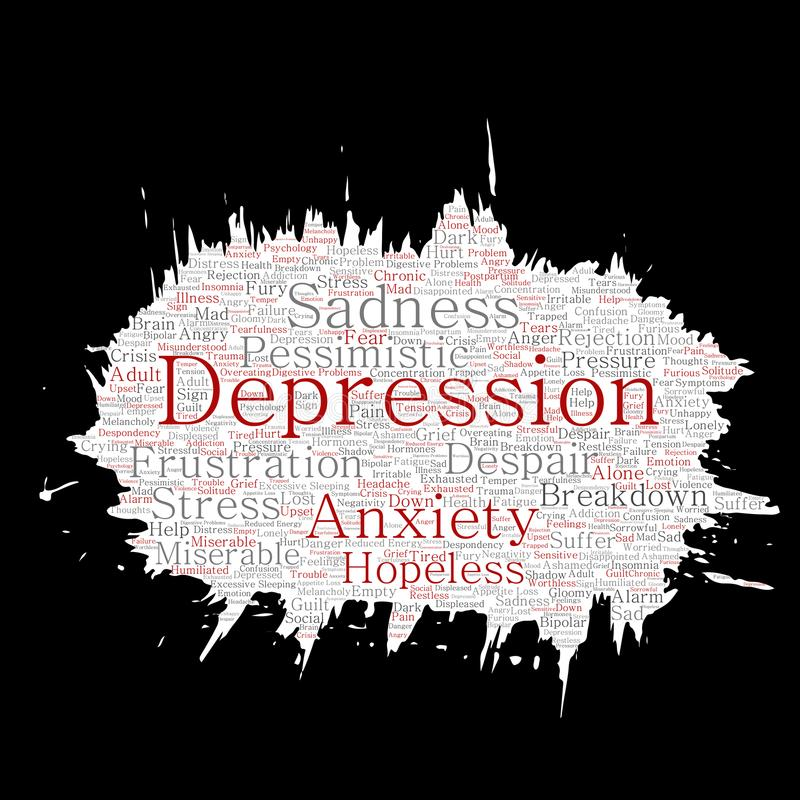 Vector la depressione concettuale o del pennello di problema di disturbo psichico o il fondo isolato nuvola di carta mentale di p illustrazione di stock