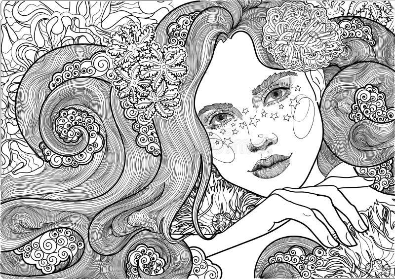 Vector a la diosa hermosa del mar, sirena, muchacha entre las algas florecientes, coloreando stock de ilustración