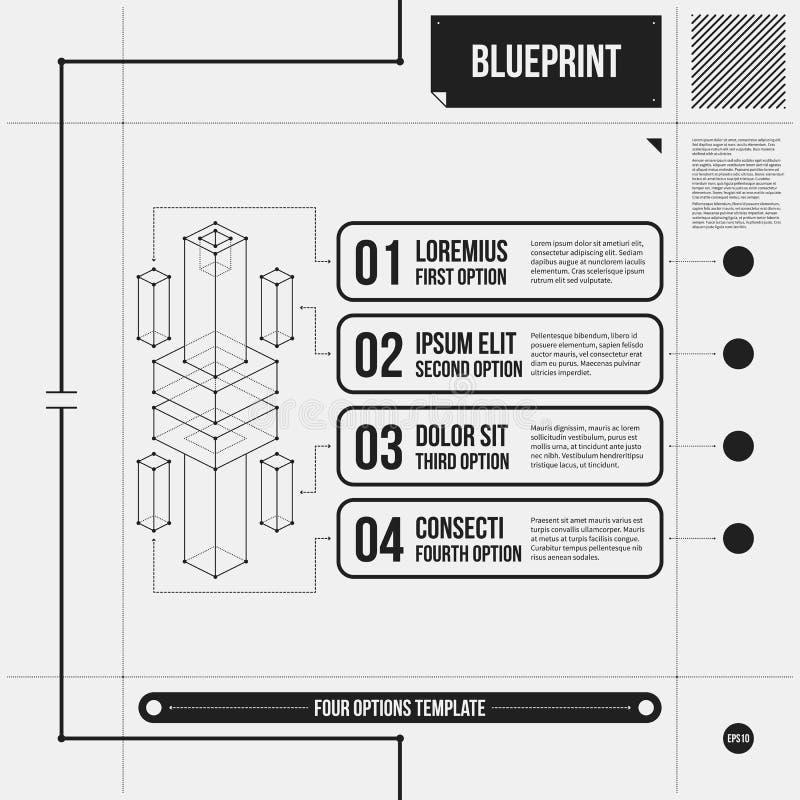Vector la disposición con cuatro opciones numeradas y el objeto isométrico abstracto en estilo del proyecto libre illustration