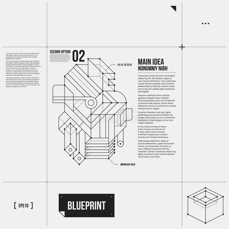 Vector la disposición con el objeto abstracto en estilo del proyecto stock de ilustración
