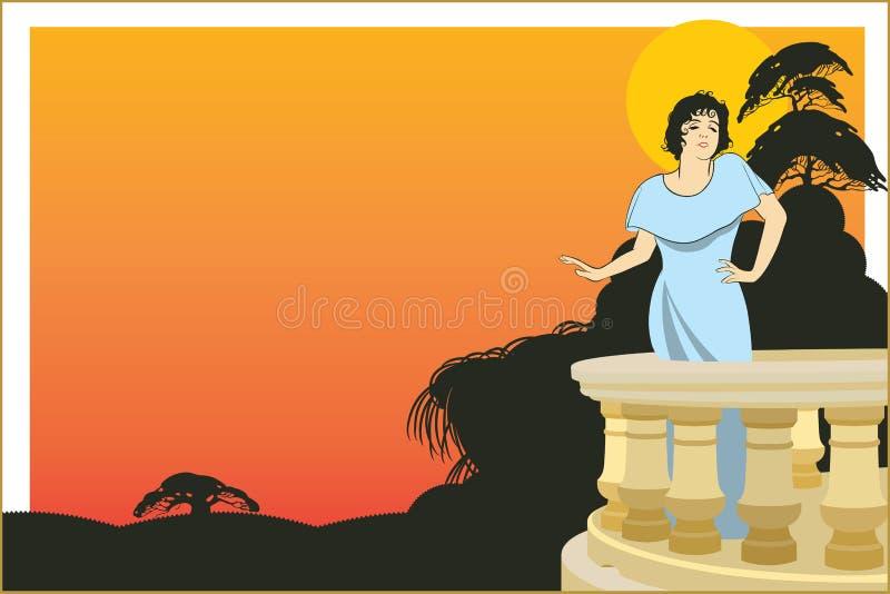 Download Vector La Donna Sulla Veranda Dell'hotel Su Un Fondo Esotico Illustrazione Vettoriale - Illustrazione di insignia, piastra: 55364174