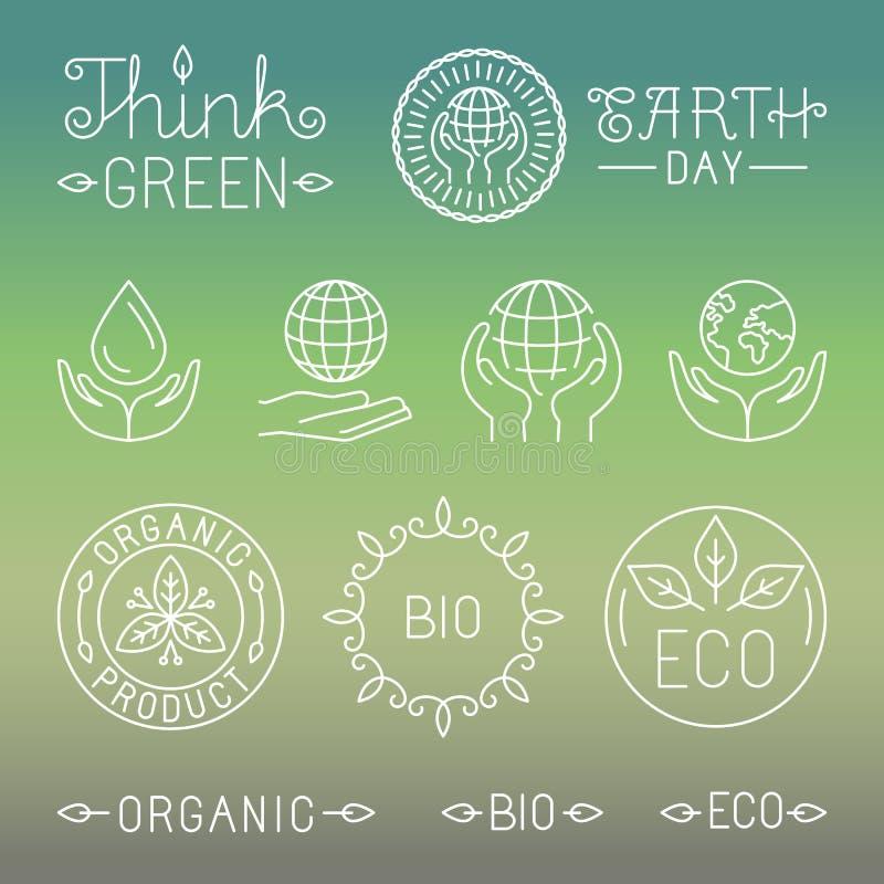 Vector la ecología linear y las insignias y los logotipos orgánicos stock de ilustración