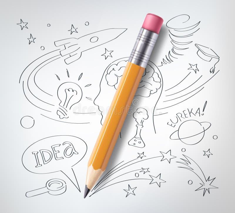 Vector la educación, concepto de la ciencia, lápiz, bosquejo ilustración del vector