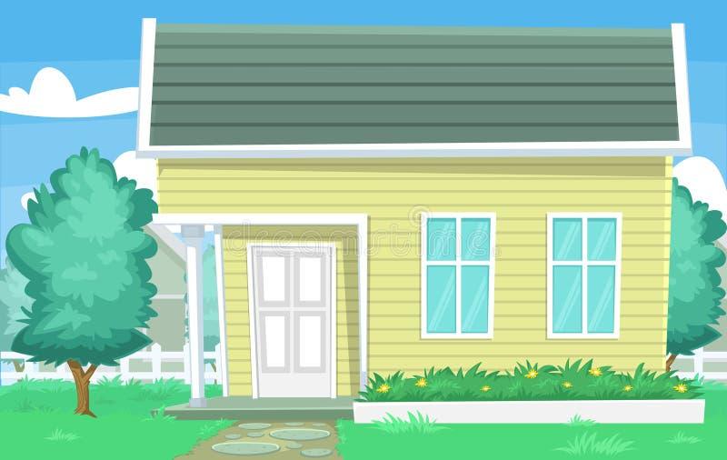Vector la escena común de la casa de la historieta con la pared y el vecino de madera del árbol de la yarda de la hierba stock de ilustración