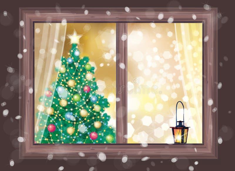 Vector la escena de la noche del invierno de la ventana con el árbol de navidad y lant ilustración del vector