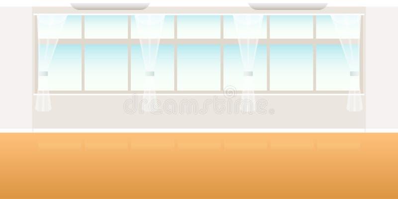 Vector la escena vacía interior moderna de la oficina o de la sala de clase del desván en estilo plano libre illustration