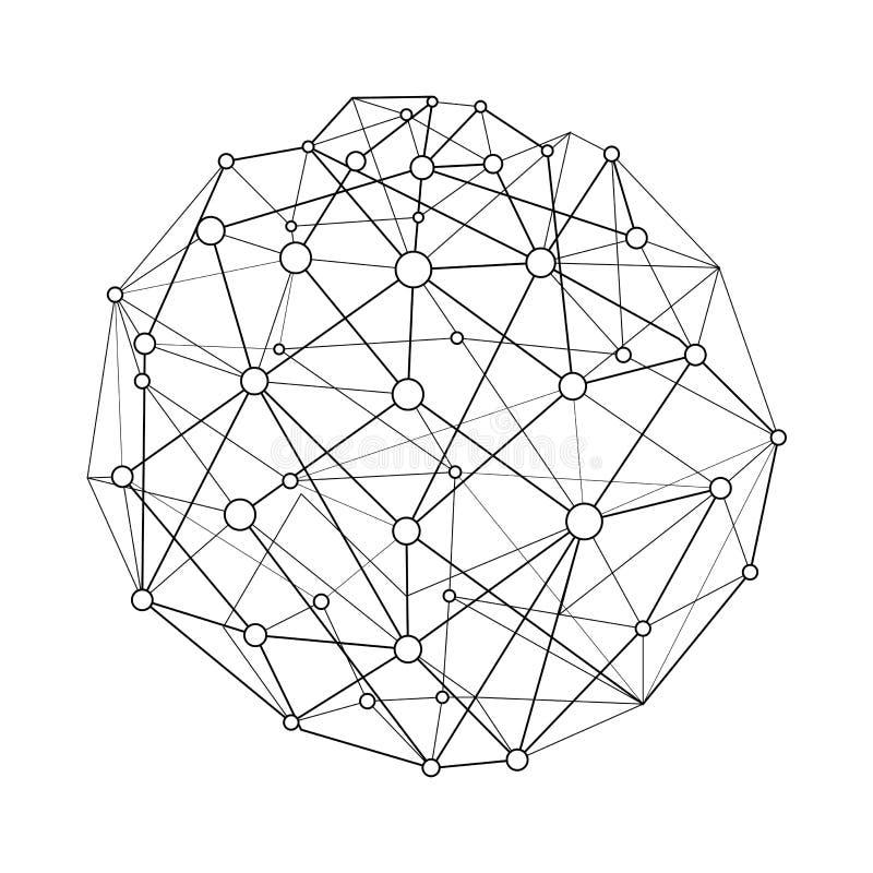 Vector la esfera de conexión del wireframe del ejemplo con los puntos y los círculos Conexión de la estructura del globo Red glob ilustración del vector