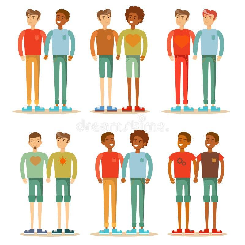 Vector la famiglia gay felice delle coppie dell'illustrazione che sta insieme illustrazione vettoriale