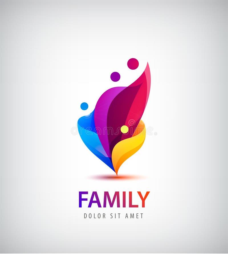 Vector a la familia con los niños, logotipo del grupo de 4 personas ilustración del vector
