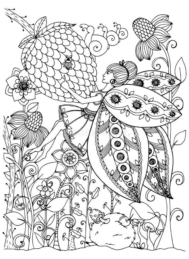 Vector la farfalla della ragazza dello zentangl dell'illustrazione nei fiori Disegno di scarabocchio Sforzo della pagina di color illustrazione vettoriale