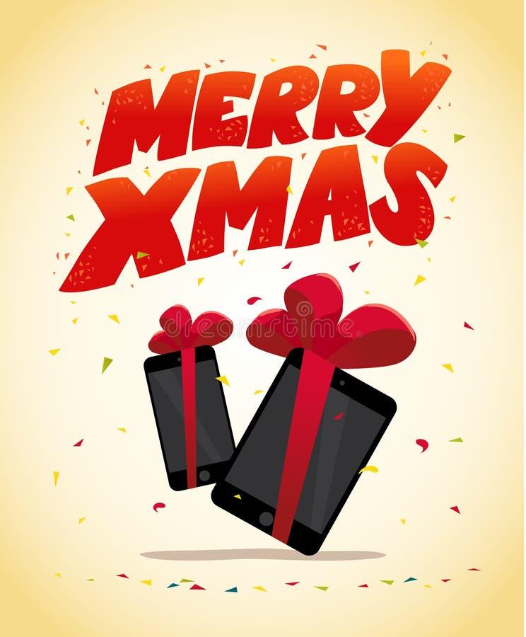 Vector la Feliz Año Nuevo plana y la tableta y el smartphone de la Feliz Navidad stock de ilustración