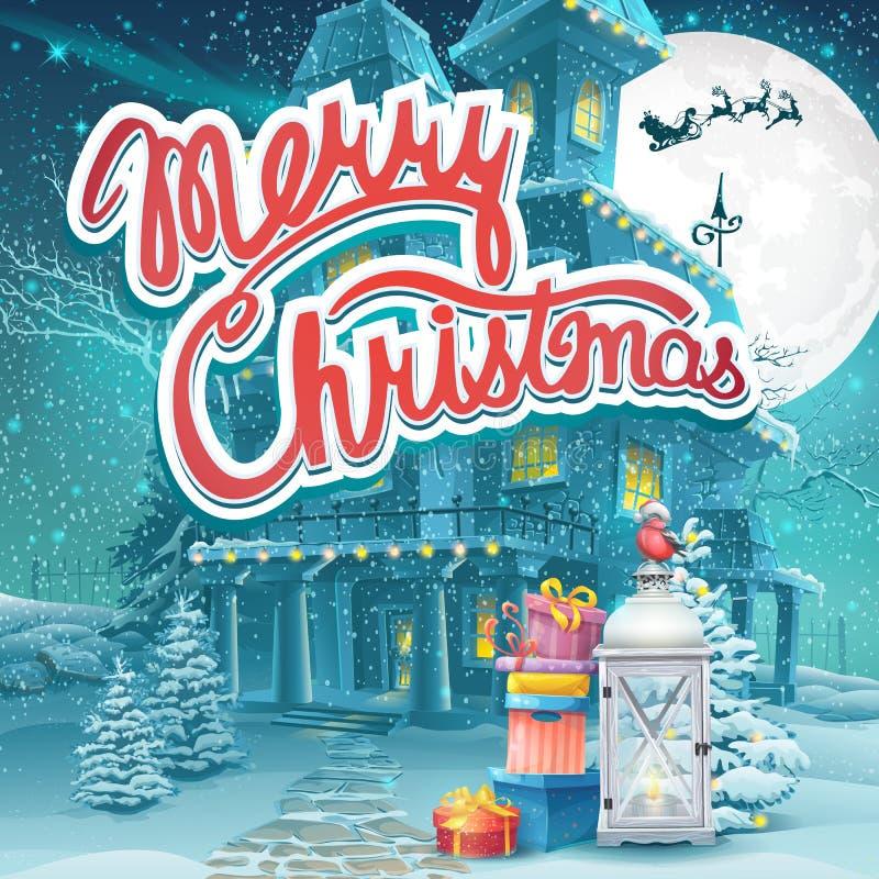 Vector la Feliz Navidad del ejemplo con presentes y una lámpara ilustración del vector