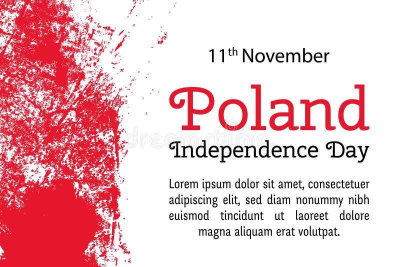 Vector la festa dell'indipendenza della Polonia dell'illustrazione, bandiera polacca nello stile d'avanguardia di lerciume 11 nov illustrazione di stock