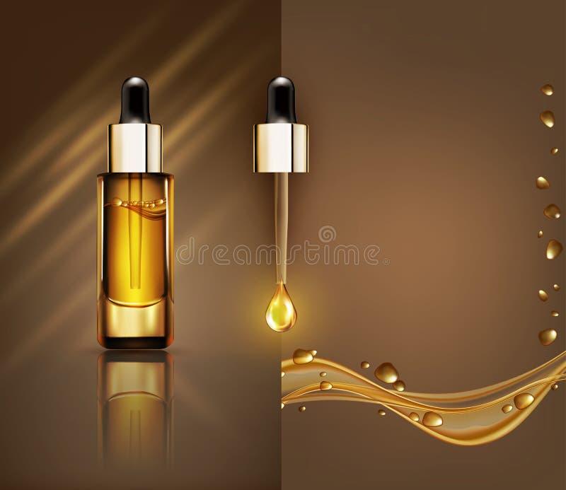 Vector la fiala di vetro con il siero facciale professionale con una pipetta illustrazione vettoriale