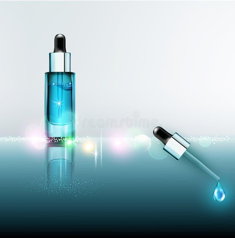 Vector la fiala di vetro con il siero facciale professionale con una pipetta illustrazione di stock