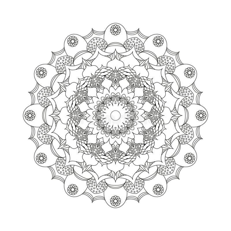 Vector la flor circular de la mandala del modelo del libro de colorear adulto blanco y negro - fondo floral libre illustration