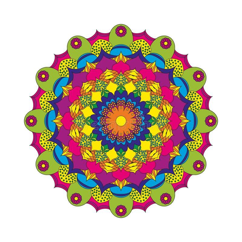 Vector la flor circular de la mandala del modelo del libro de colorear adulto coloreada - fondo floral ilustración del vector