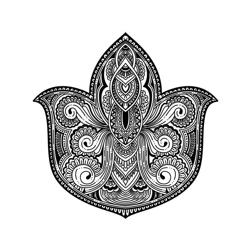 Vector la flor de Lotus ornamental, arte étnico, indio modelado Paisley Ilustración drenada mano ejemplo para el adulto para colo ilustración del vector