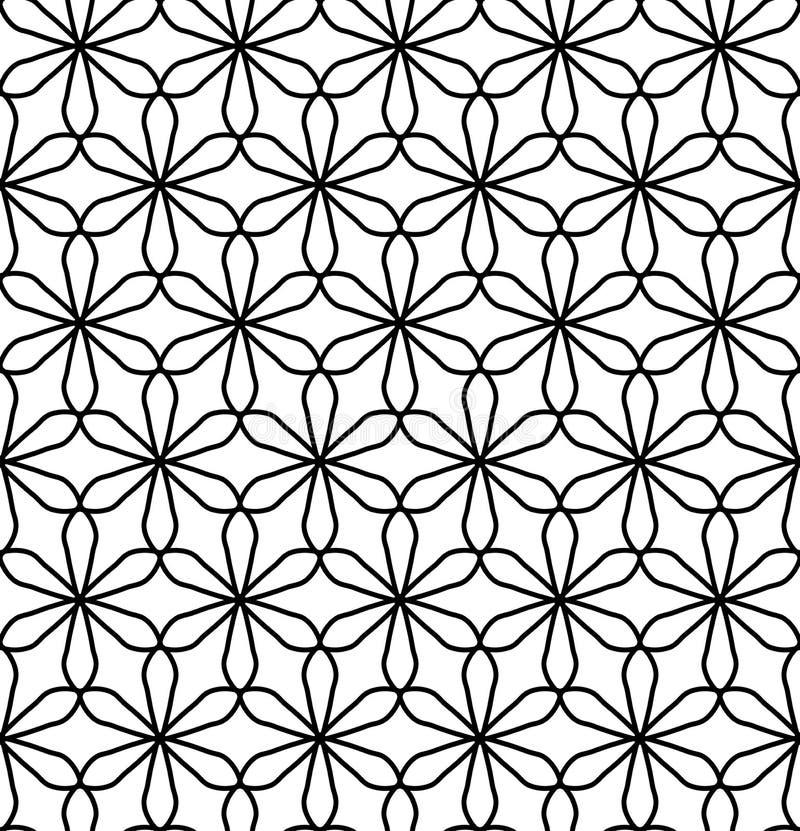 Vector la flor inconsútil moderna del modelo de la geometría de la vida, extracto blanco y negro stock de ilustración