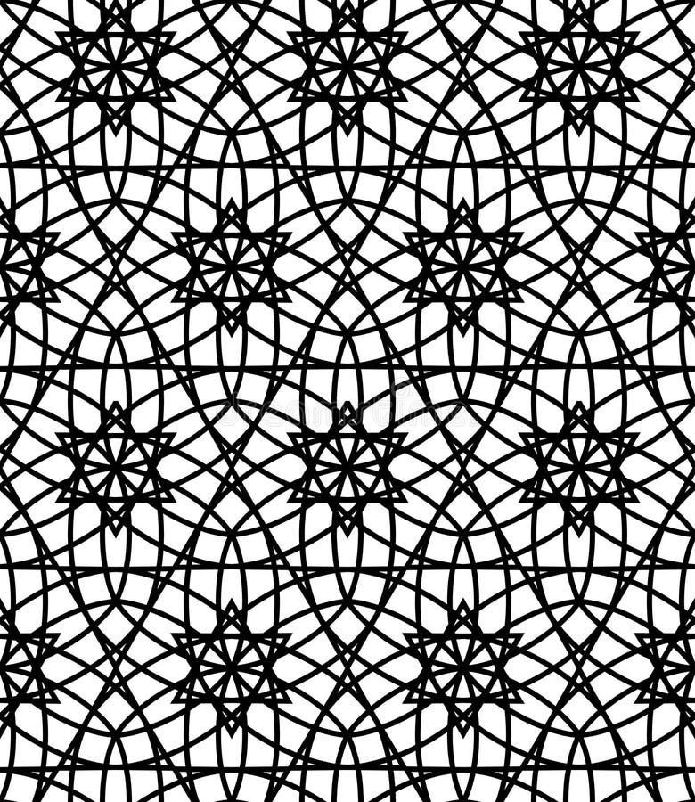 Vector la flor sagrada inconsútil moderna del modelo de la geometría de la vida, extracto blanco y negro stock de ilustración