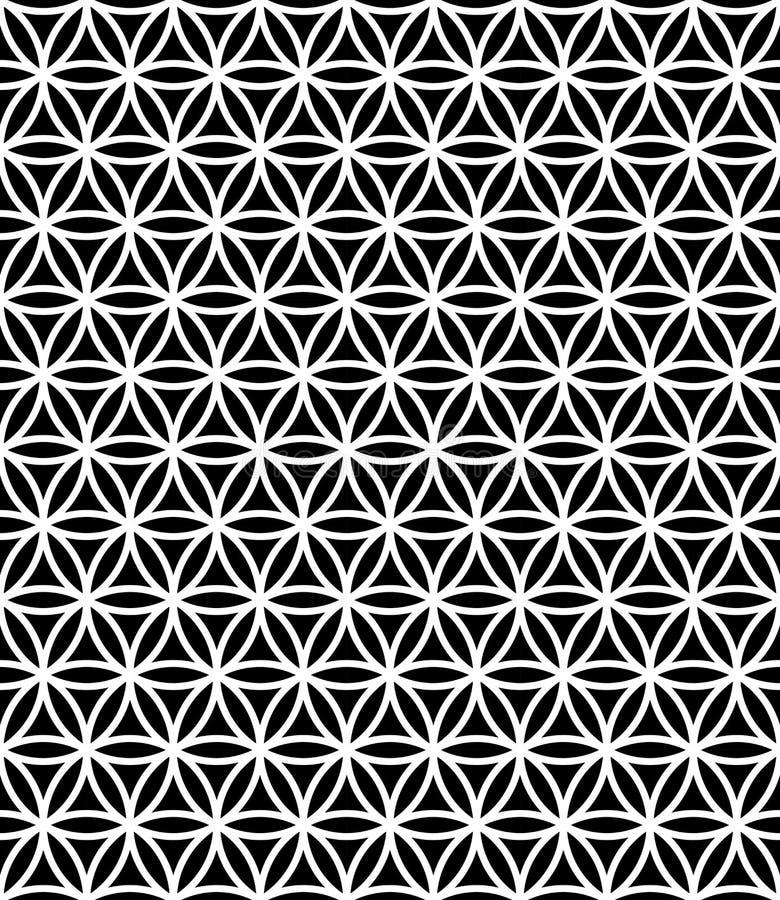 Vector la flor sagrada inconsútil moderna del modelo de la geometría de la vida, extracto blanco y negro ilustración del vector