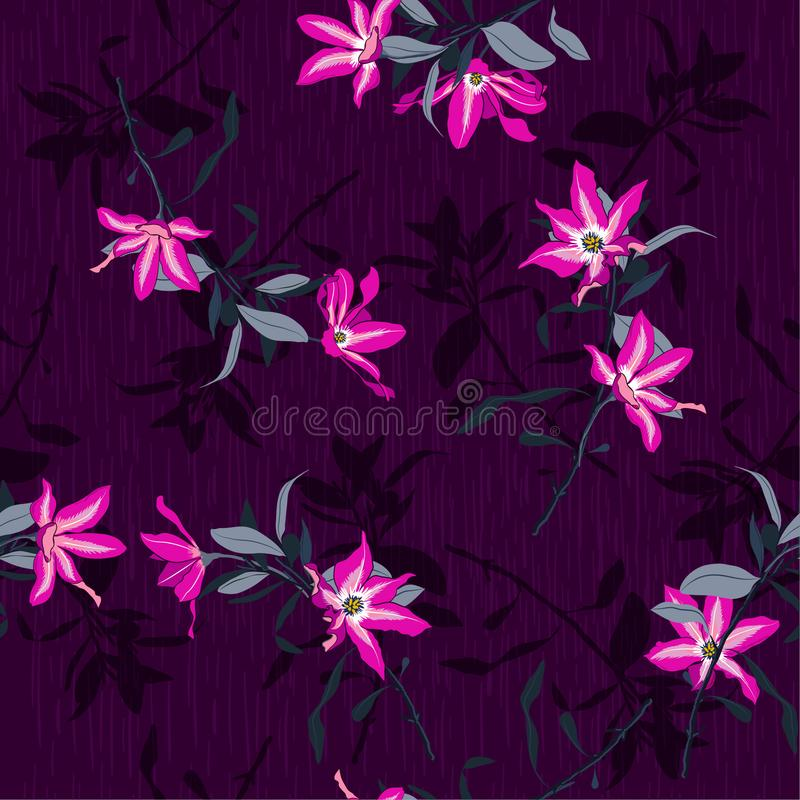 Vector la Florida floreciente rosada fresca artística hermosa inconsútil del verano stock de ilustración
