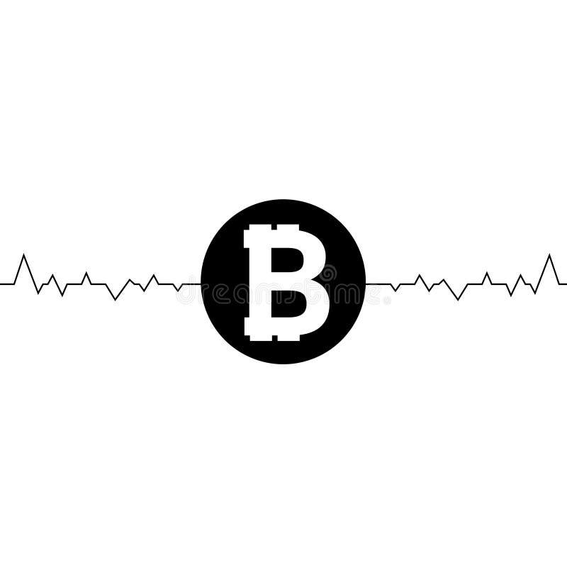 Vector la fluttuazione del disegno a tratteggio, arte del bitcoin uno di minimalismo Fluttuazione nel tasso di cambio del bitcoin royalty illustrazione gratis