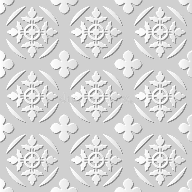 Vector la foglia trasversale rotonda del fondo 009 senza cuciture del modello di arte della carta 3D del damasco royalty illustrazione gratis