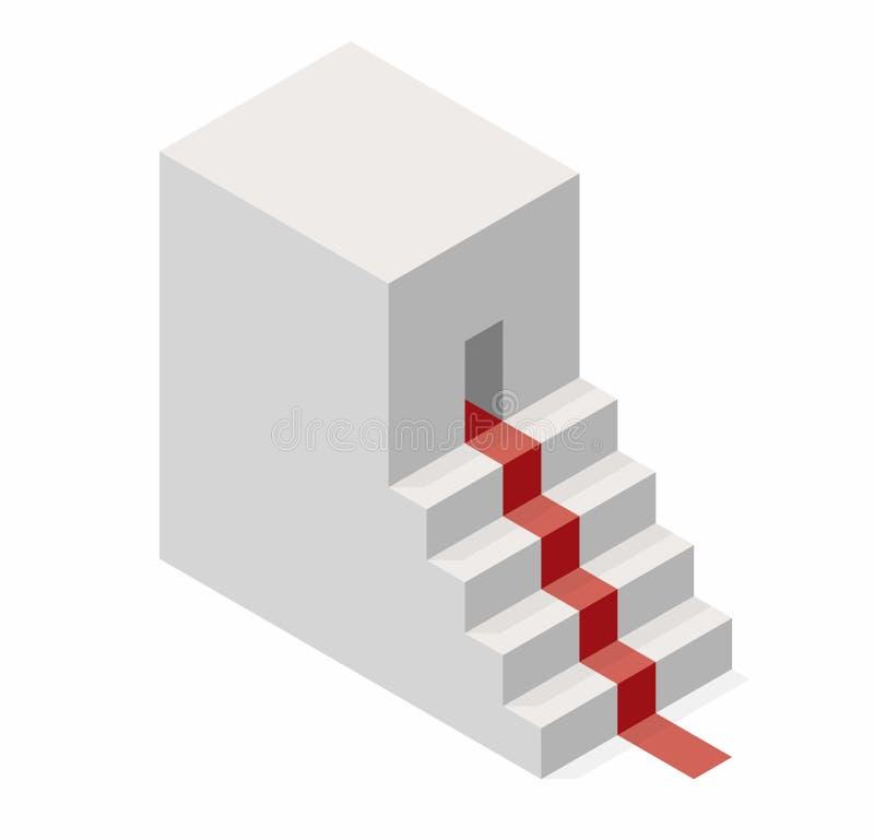 Vector la forma del cubo che evoca la scala ascendente con tappeto rosso royalty illustrazione gratis