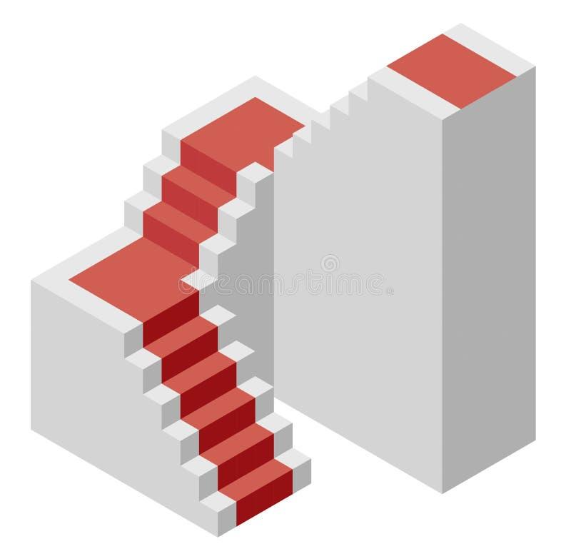 Vector la forma del cubo che evoca la scala ascendente con tappeto rosso illustrazione vettoriale