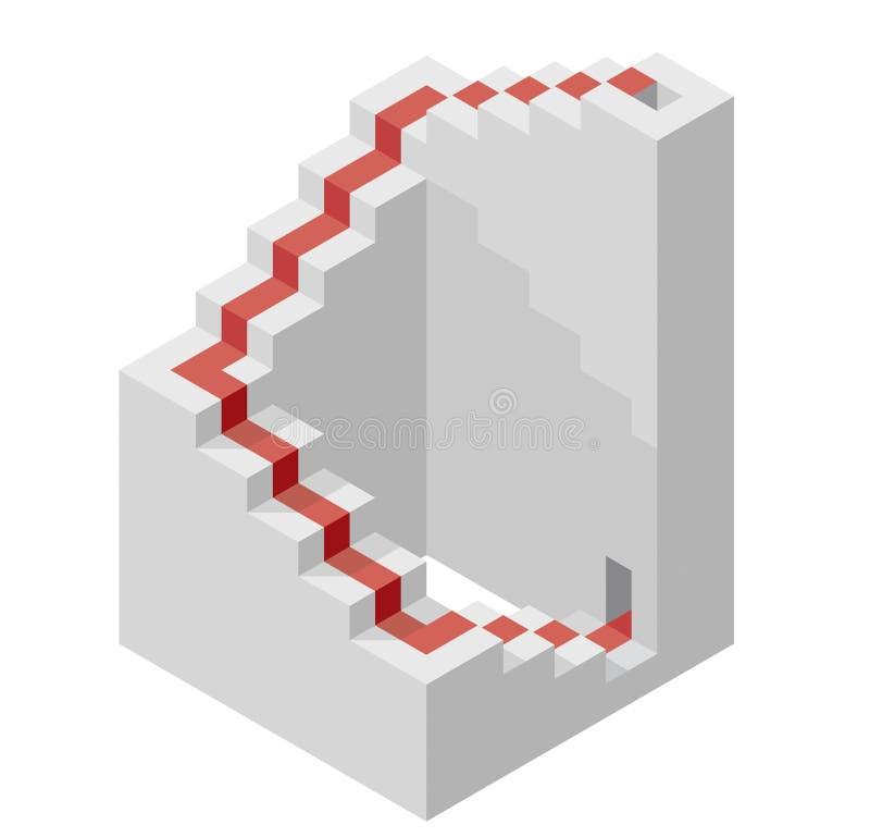 Vector la forma del cubo che evoca la scala ascendente con tappeto rosso illustrazione di stock