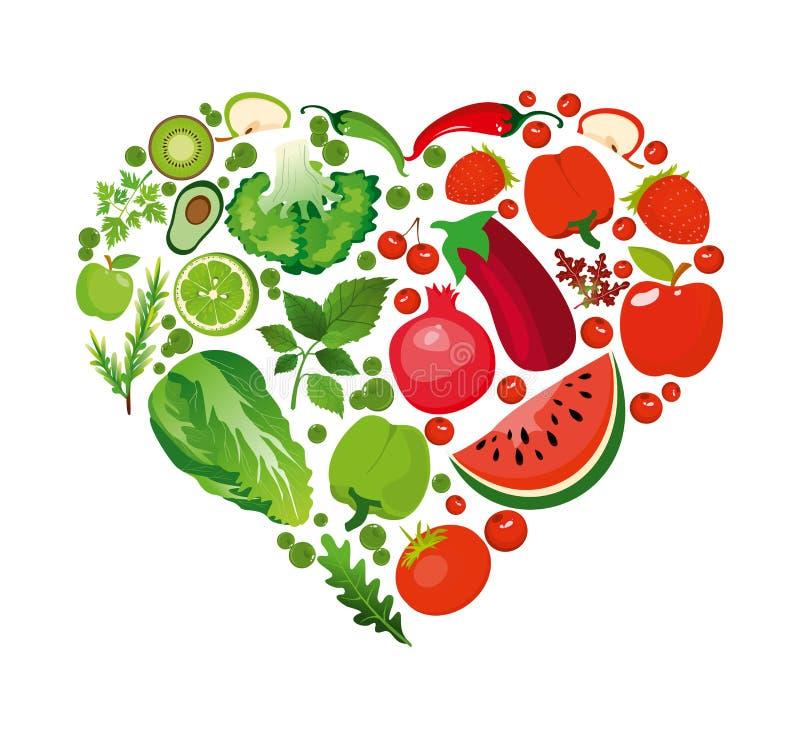 Vector la forma del cuore dell'illustrazione della frutta e delle verdure rosse Concetto organico di nutrizione sana nello stile  royalty illustrazione gratis