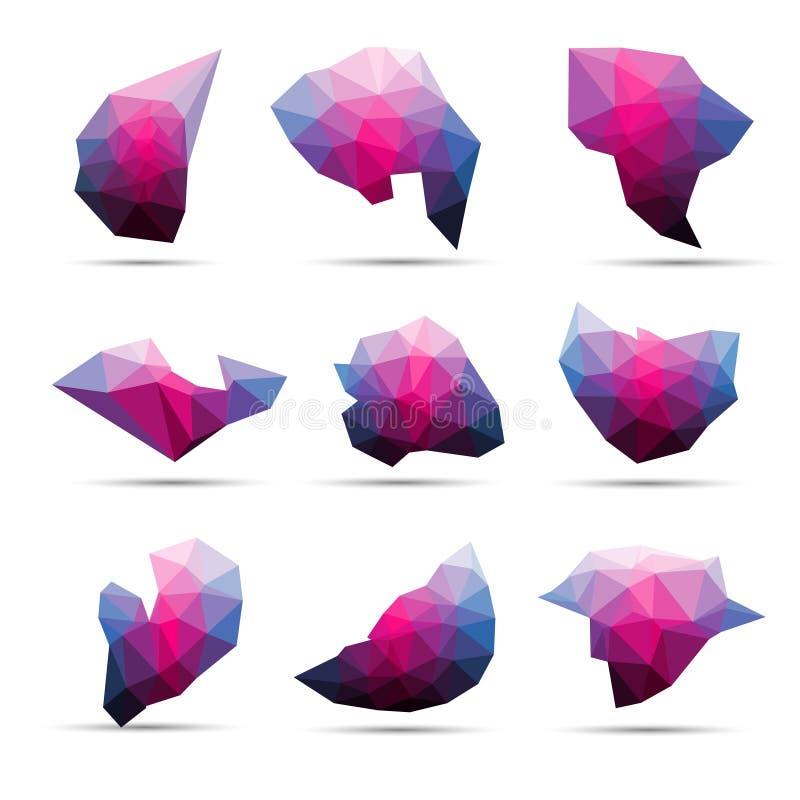 Vector la forma geométrica abstracta colorida de la piedra 3d lowpoly ilustración del vector