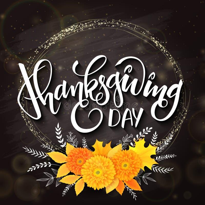 Vector la frase de las letras del saludo del día de la acción de gracias - acción de gracias feliz - con el marco redondo de oro, stock de ilustración