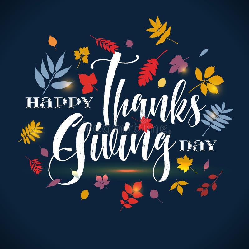 Vector la frase dell'iscrizione di saluto del giorno di ringraziamento - giorno felice di ringraziamento - su fondo blu con le fo illustrazione vettoriale