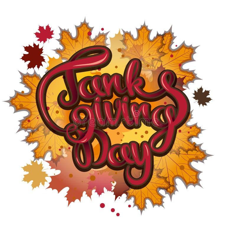 Vector la frase dell'iscrizione di saluto del giorno di ringraziamento - ringraziamento felice su un fondo delle foglie di autunn royalty illustrazione gratis