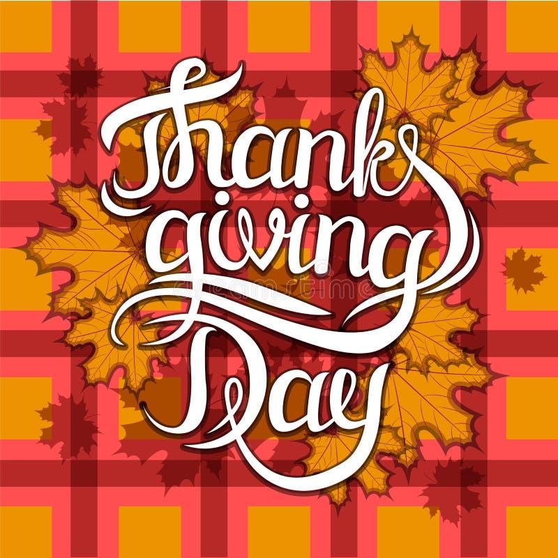 Vector la frase dell'iscrizione di saluto del giorno di ringraziamento - giorno felice di ringraziamento - sul fondo di autunno d royalty illustrazione gratis