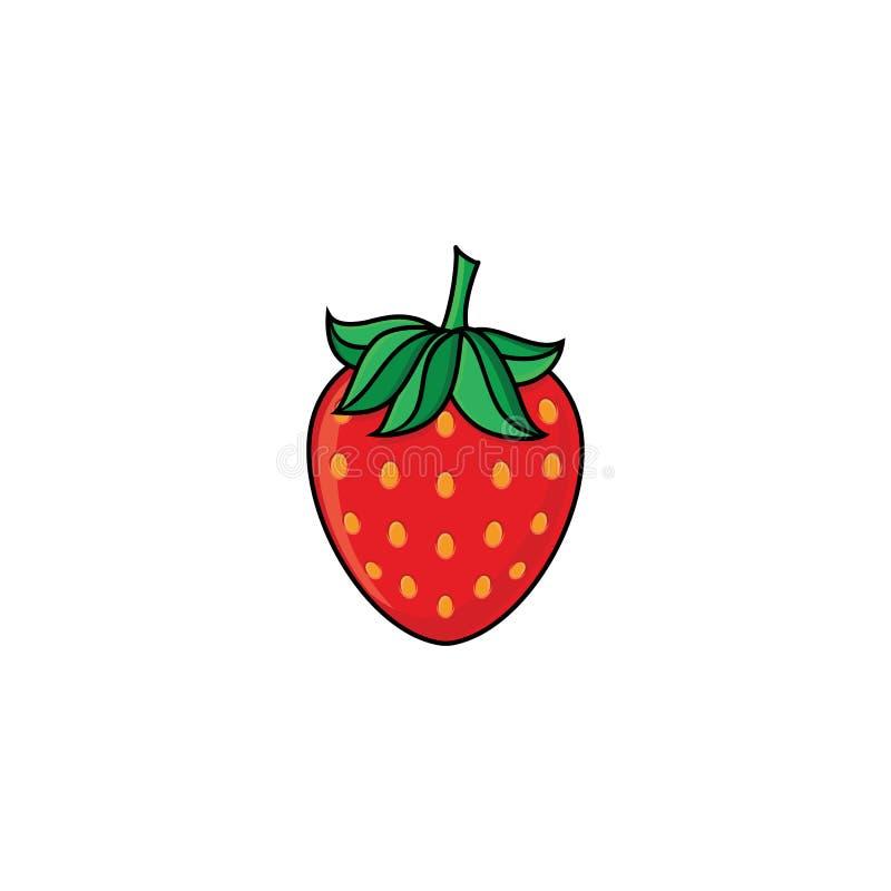 Vector la fresa madura fresca roja del estilo plano del bosquejo ilustración del vector