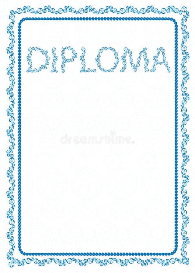 Vector la frontera azul simple del marco con las ruedas de engranaje para el diploma, certificado ilustración del vector