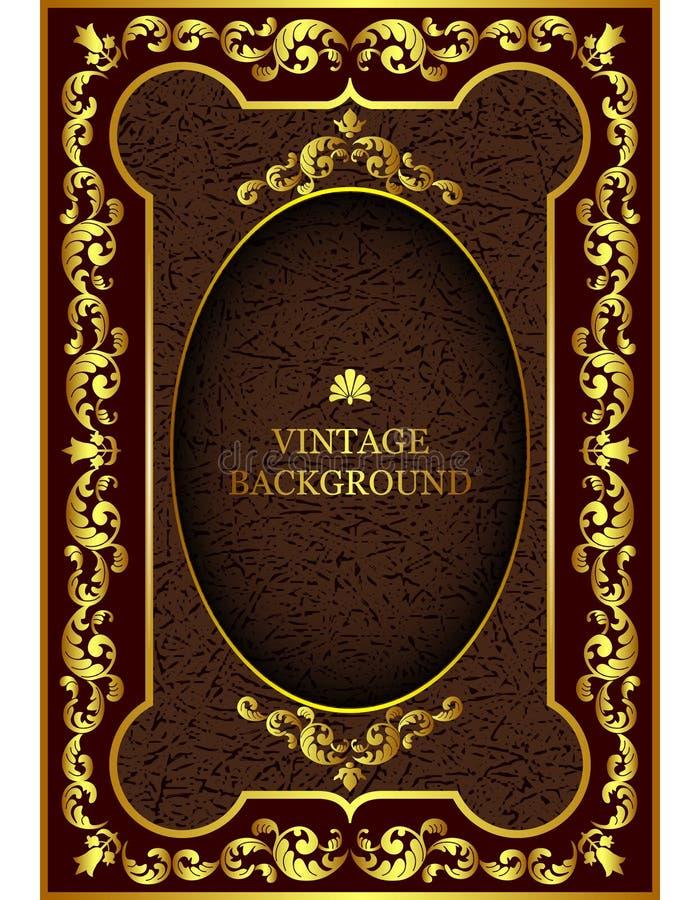 Vector la frontera de lujo del vintage en el estilo barroco con el marco del estampado de flores del oro ilustración del vector