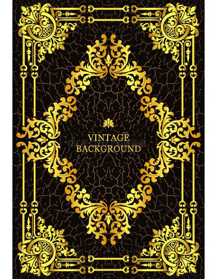 Vector la frontera de lujo del vintage en el estilo barroco con el marco del estampado de flores del oro La plantilla para las cu libre illustration