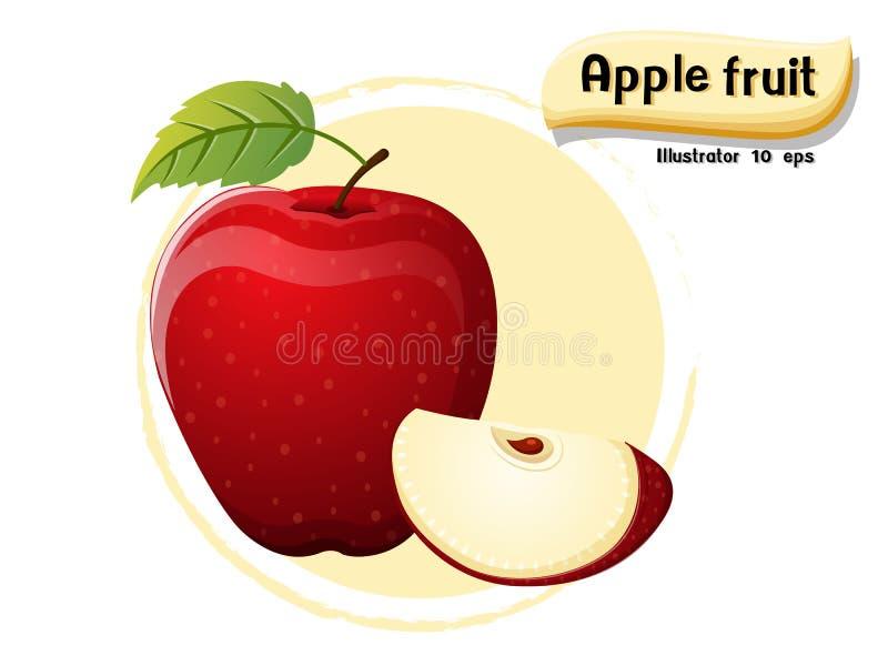 Vector la fruta de Apple aislada en el fondo del color, ilustrador 10 EPS ilustración del vector