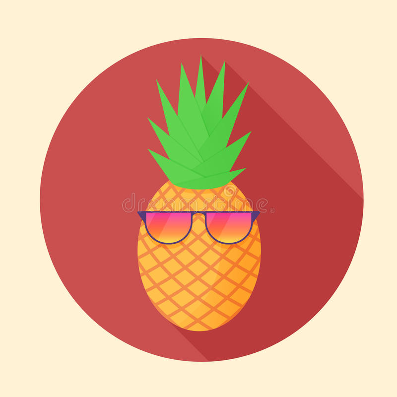 Vector la fruta tropical de la piña con los vidrios del partido en el círculo stock de ilustración