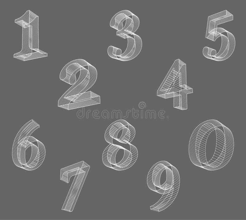 Vector la fuente (atada con alambre) polivinílica baja de los números Fije el alfabeto del número del polígono Ilustración del ve ilustración del vector